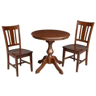 Round Top Pedestal Table With 2 San Remo Chairs - Espresso