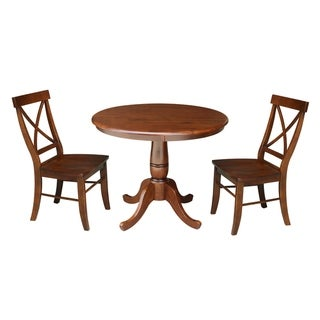 """36"""" Round Top Pedestal Table With 2 Chairs - Espresso"""