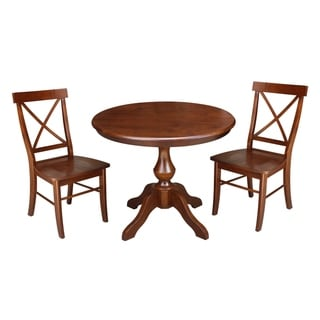 "36"" Round Top Pedestal Table With 2 Chairs"