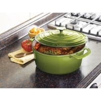 Cooks Tools Enamel Cast Iron Porcelain Coated 7-Quart Green Dutch Oven