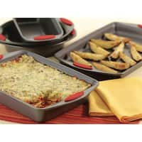 Rachael Ray Nonstick 5pc Bakeware Set, Gray with Red Handles
