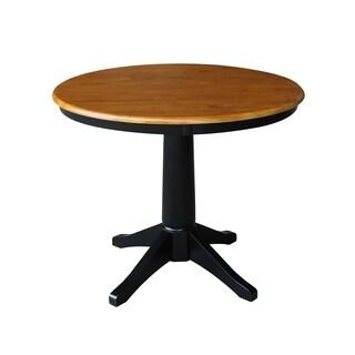 "36"" Round Pedestal Table - Black/Cherry - Black/Red"