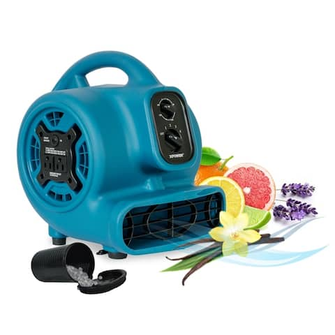 XPOWER P-260AT Freshen Aire 1/5 HP 800 CFM 4 Speed Scented Air Mover, Utility Fan, Dryer, Blower with Timer & Power Outlets