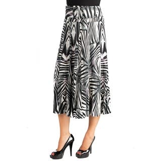 24/7 Comfort Apparel Womens Zebra Print Belted Midi Skirt