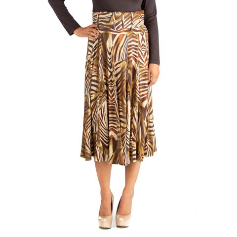 24/7 Comfort Apparel Womens Animal Print Belted Midi Skirt