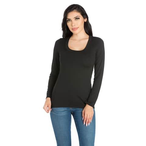 24/7 Comfort Apparel Women's Long Sleeve Scoop Neck Top