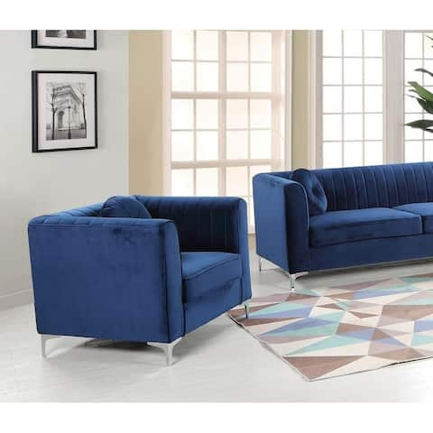 Best Master Furniture Blue/Grey Wood/Fabric Upholstered Living Room Arm Chair