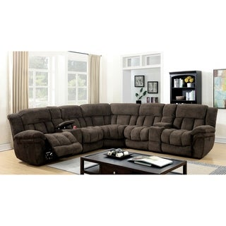 Furniture of America Danners 5-seater Theater Flannel Sectional