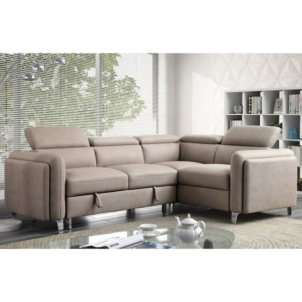 Furniture Of America Darion Beige Fabric L Shaped Sleeper Sectional