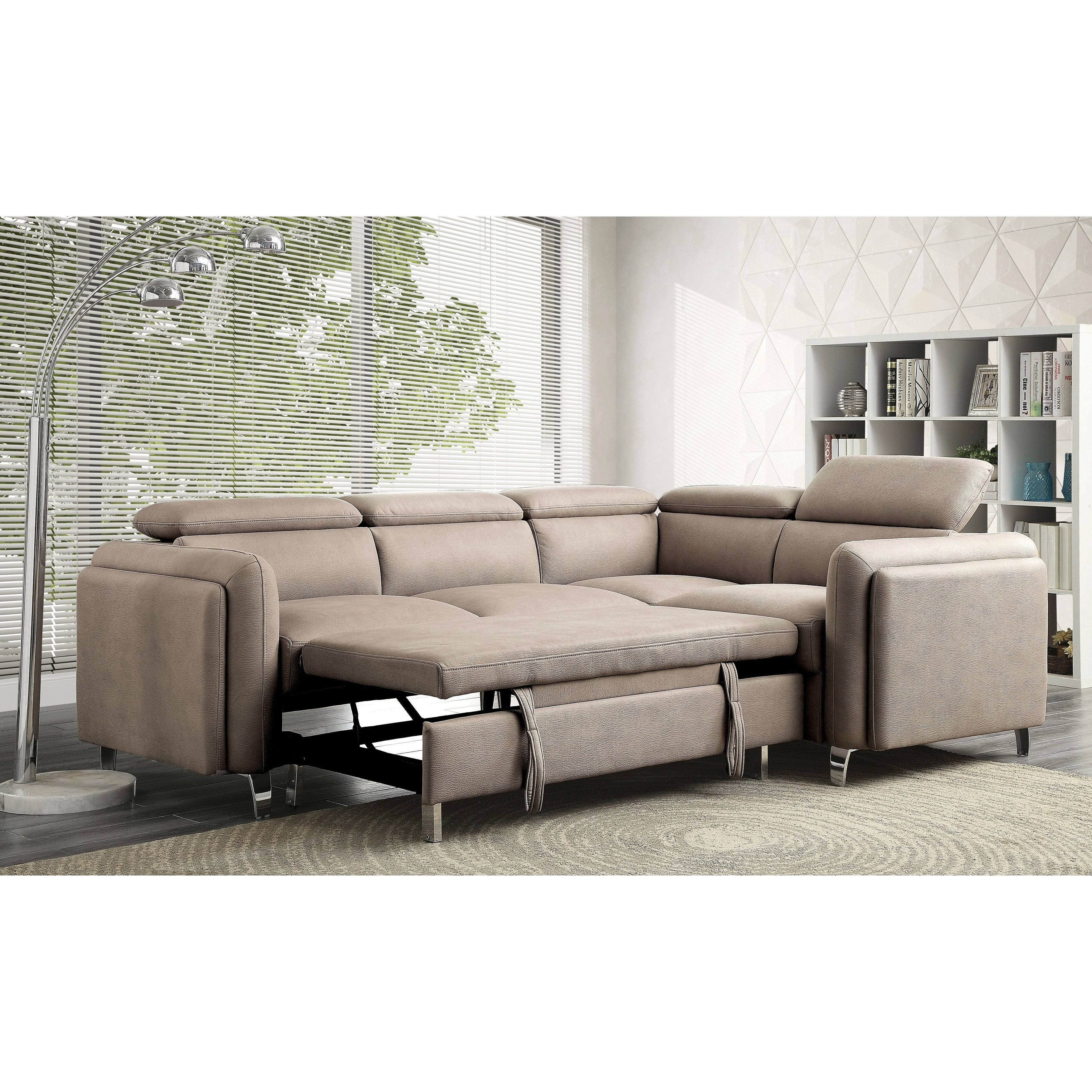 furniture of america lejla l shaped sleeper sectional