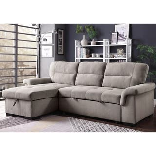 Furniture Of America Terry Light Grey Linen Sleeper Sectional