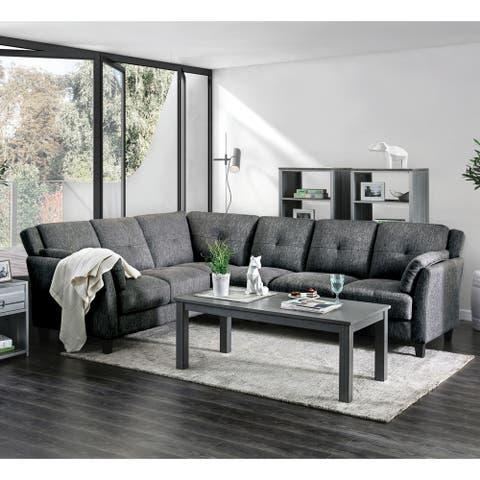 Furniture of America Yeca Mid Century Grey Linen Fabric Sectional