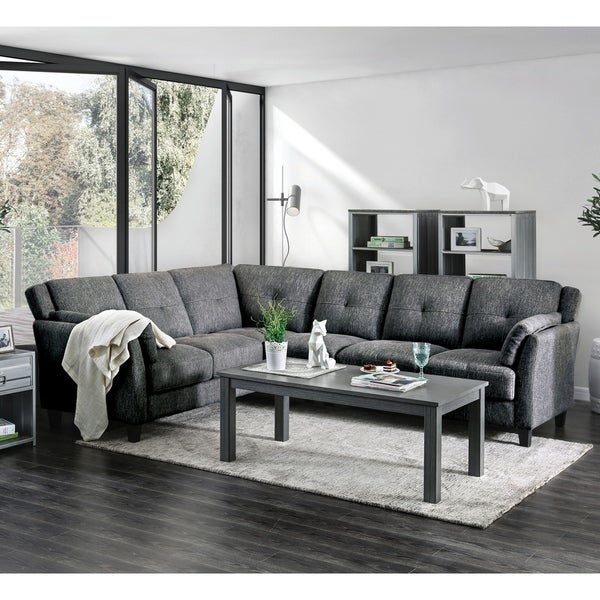 Furniture of America Yeca Mid Century Grey Linen Fabric Sectional. Opens flyout.