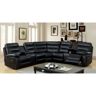 Furniture of America Vista Breathable Leather Sectional