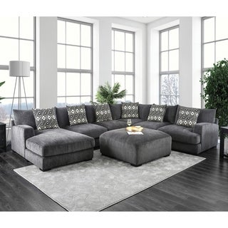 Furniture of America Cleo Modular Grey Microfiber Chenille Sectional