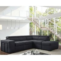 Furniture of America Alek Gray Microfiber Suede Sleeper Sofa Sectional