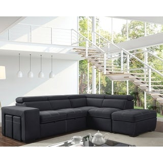 Furniture of America Alek Gray Microfiber Suede Sleeper Sofa Sectional