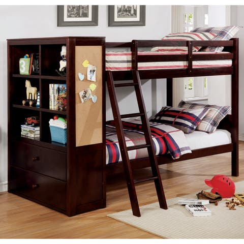 Copper Grove Martvili Twin-over-Twin Bunk Bed with Built-in Bookcase