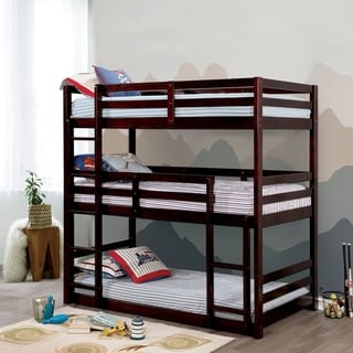 Furniture of America Jody Transitional Twin Solid Wood Triple Bunk Bed