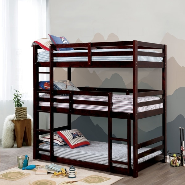 Advantages And Drawbacks Of Strong Wooden Loft Bed With Stairs Jody Transitional Triple Twin Bunk Bed by FOA