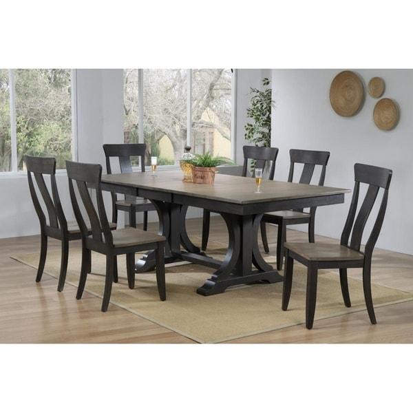 "Iconic Furniture Co 42""x64""x82"" Double Pedestal Deco Antique Grey Stone/Black Stone Panel Back 7-Piece Dining Set"