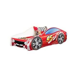 Kids Twin Size Platform Car Bed Frame (Red)