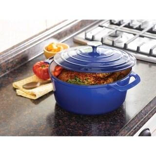 Cooks Tools Enamel Cast Iron Porcelain 7QT Dutch Oven, Blue