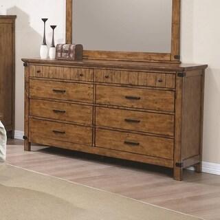 Wooden Dresser with 8 Drawers, Warm Honey Brown