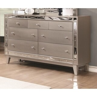 Wooden Dresser with 7 Drawers, Mercury Silver
