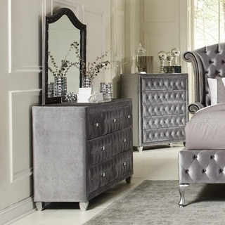 Fabric Upholstered Dresser with Button-Tufting, Gray