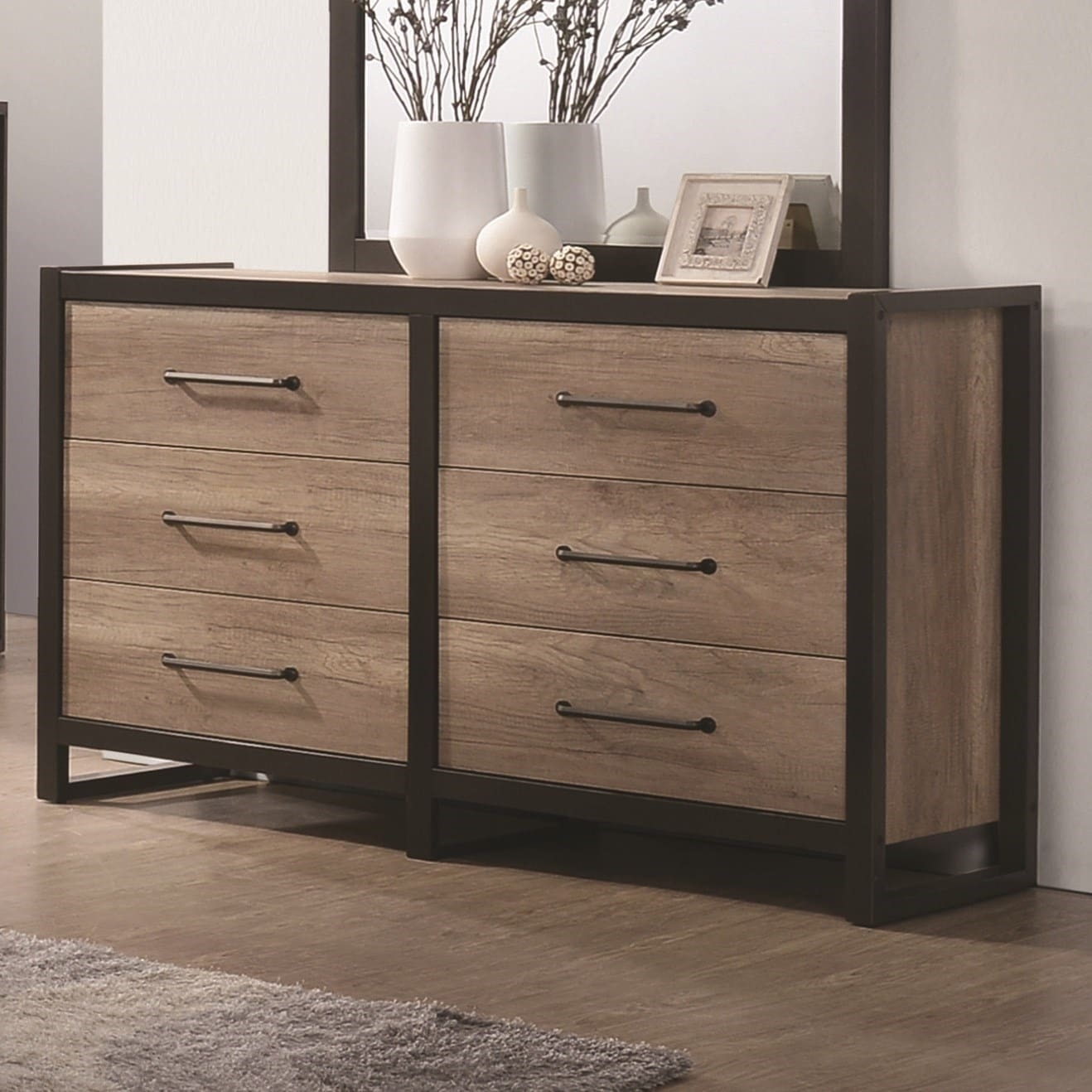 Metal Framed Wooden Dresser With