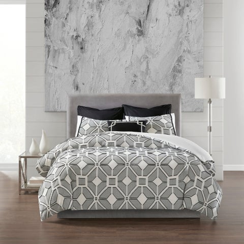 N Natori Shandong Black 3 Piece Cotton Yarn Dyed Comforter Set