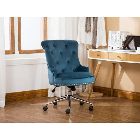 Porthos Home Jaron Office Chair - Tufted Wingback & Velvet Upholstery