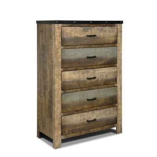 Wooden Chest with Rough-Sawn Design & Rivet Banding, Brown