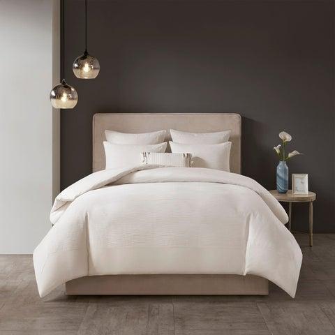 N Natori Shandong Black 3 Piece Cotton Yarn Dyed Duvet Cover Set