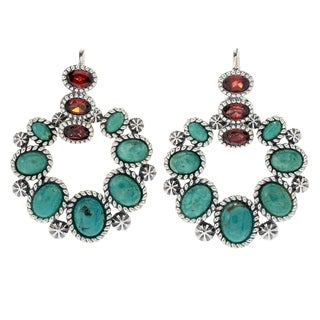 "Pinctore Sterling Silver 1.5"" Turquoise & Gem Drop Earrings"
