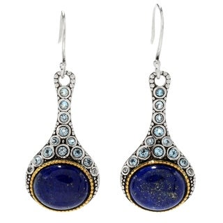 "Pinctore Sterling Silver 1.75"" Oval Lapis & Swiss Blue Topaz Drop Earrings"