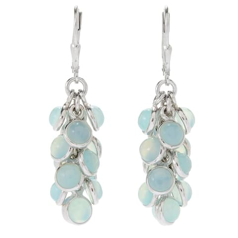 """Pinctore Sterling Silver 1.75"""" Round Aqua Chaledony Cluster Drop Earrings"""
