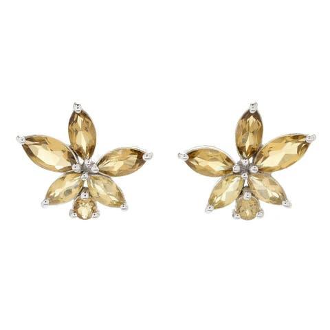 Pinctore Sterling Silver Pink Amethyst Flower Stud Earrings