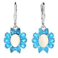 """Pinctore Sterling Silver 1.25"""" Neon Apatite & Ethiopian Opal Flower Earrings"""