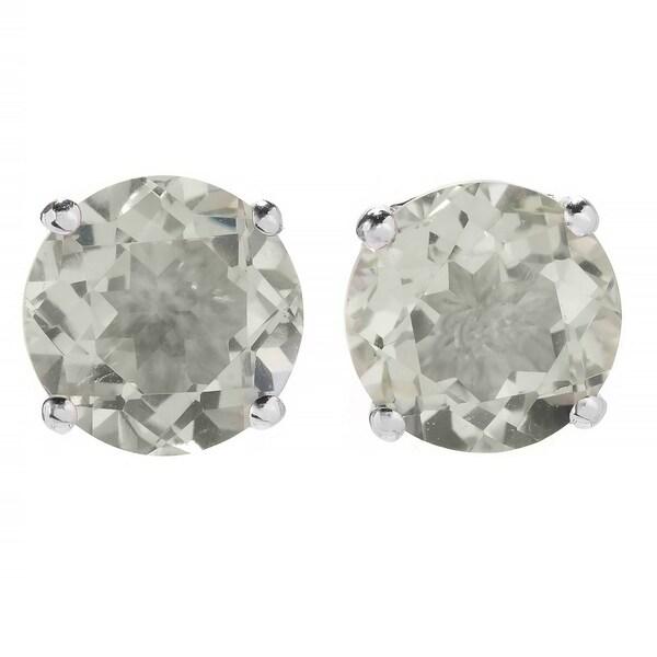 Pinctore Sterling Silver Round Green Amethyst Stud Earrings