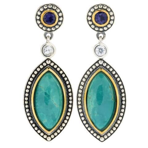 """Pinctore Sterling Silver 1.5"""" Turquoise, White Zircon & Gem Drop Earrings"""
