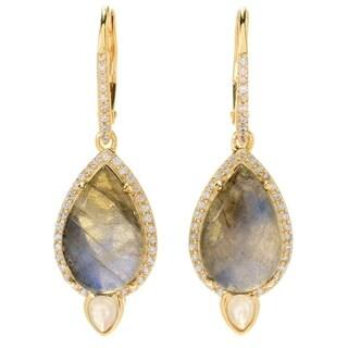 Pinctore Labradorite & White Zircon Halo Drop Earrings