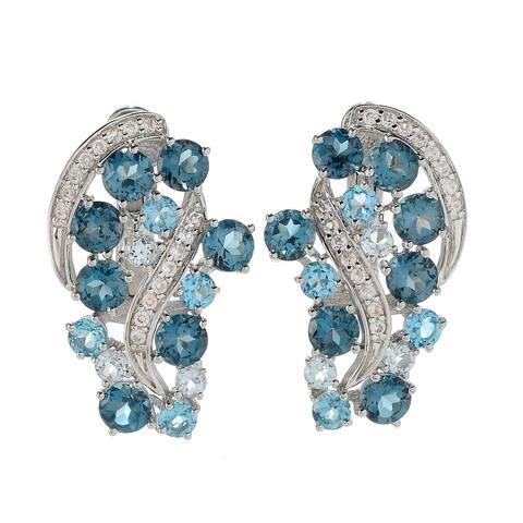 """Sterling Silver 1"""" London Blue Topaz & White Zircon Wave Earrings"""