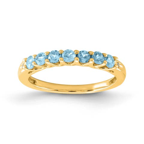 Versil 10 Karat Yellow Gold Aquamarine Birthstone Band With Diamonds