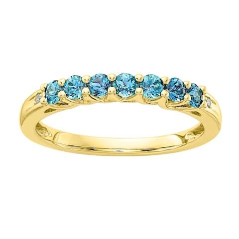 Versil 10 Karat Yellow Gold Blue Topaz Birthstone Band With Diamonds