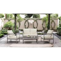 BroyerK 4-piece Aluminum Outdoor Patio Furniture Set Wooden Armrests