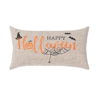 Happy Halloween Embroidered 9x16 Throw Pillow
