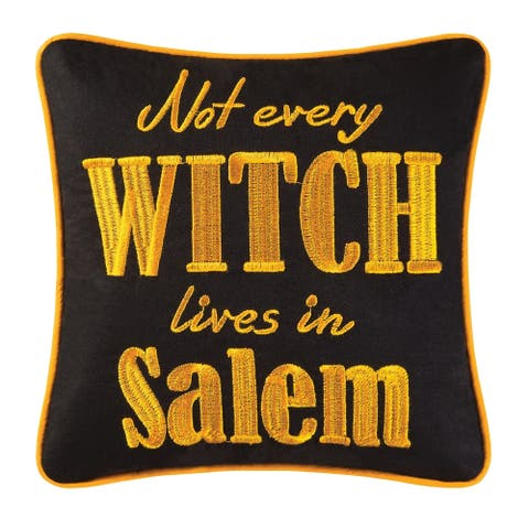 Not Every Witch Lives Embroidered 10x10 Throw Decororative Accent Throw Pillow