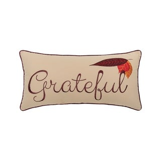 Grateful Embroidered 12x24 Throw Pillow